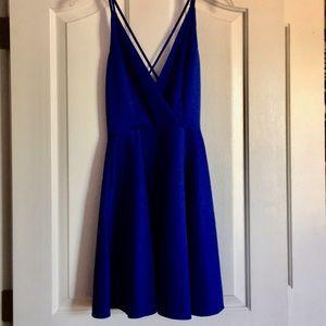 Bright blue cross back dress